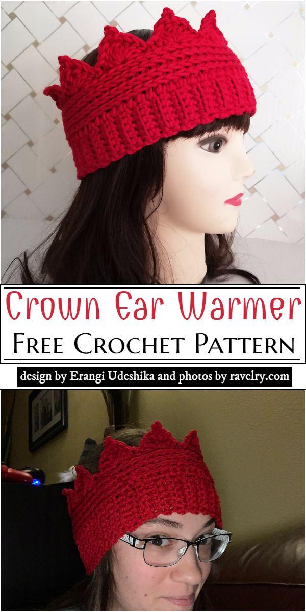 Crown Ear Warmer Crochet Pattern