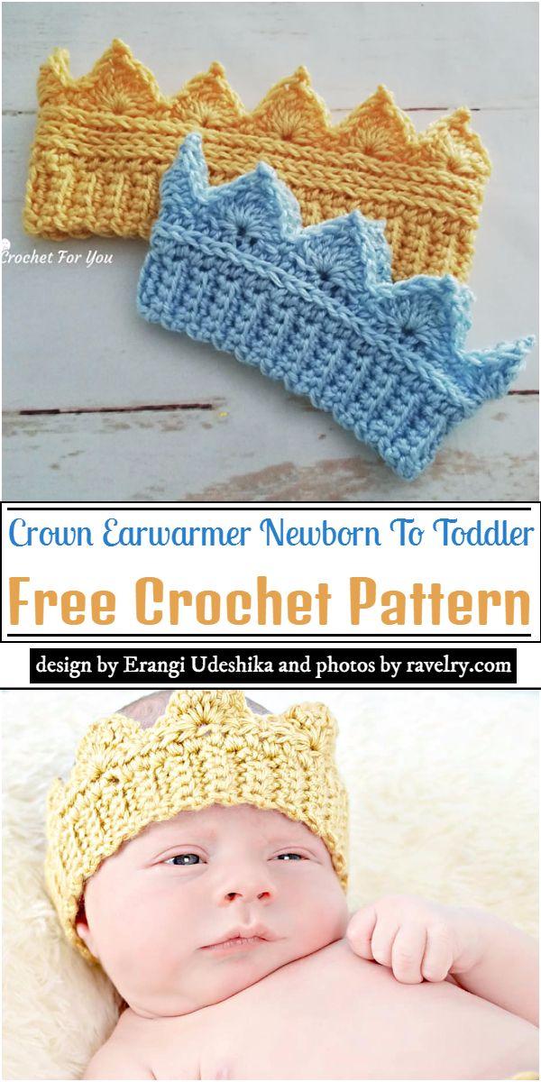 Crown Earwarmer Newborn To Toddler Crochet Pattern