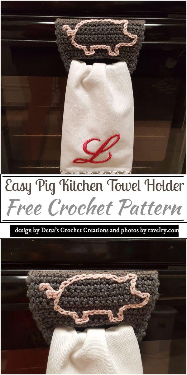 Easy Pig Kitchen Crochet Towel Holder Pattern