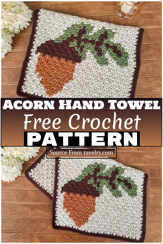 Free Crochet Acorn Hand Towel 1