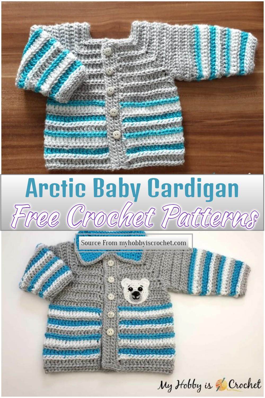 Free Crochet Arctic Baby Cardigan Pattern