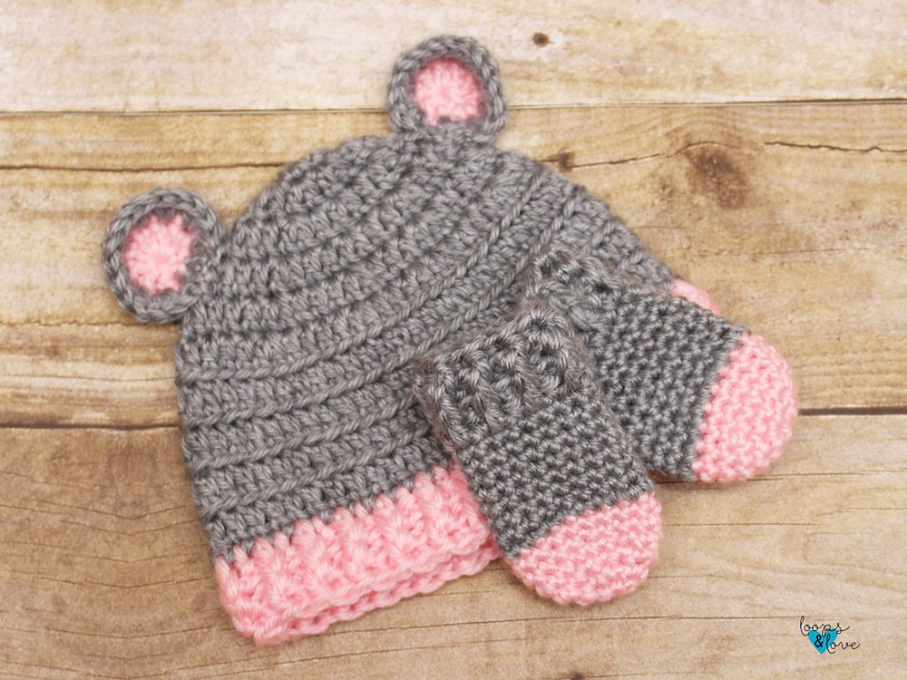 Free Crochet Baby Bear Hat And Mittens Pattern