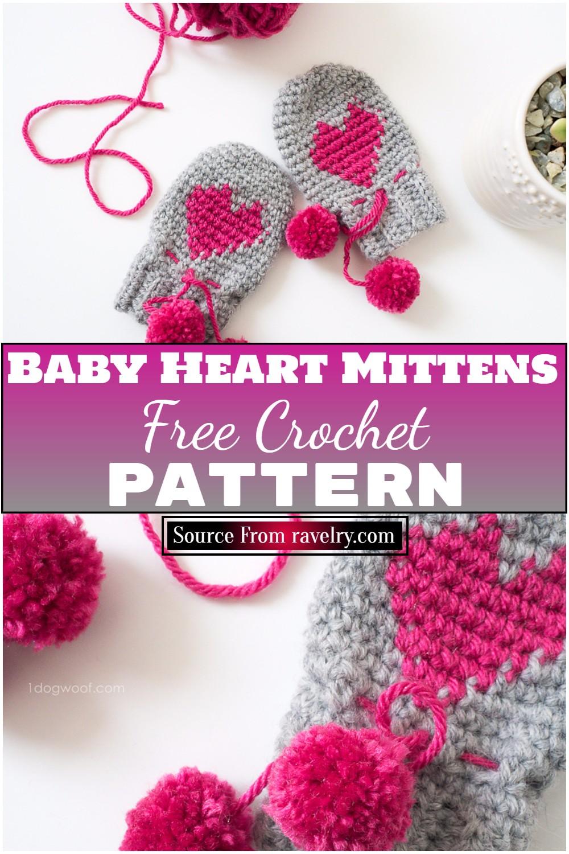 Free Crochet Baby Heart Mittens Pattern