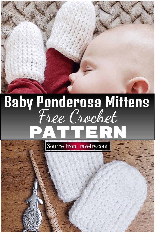 Free Crochet Baby Ponderosa Mittens Pattern