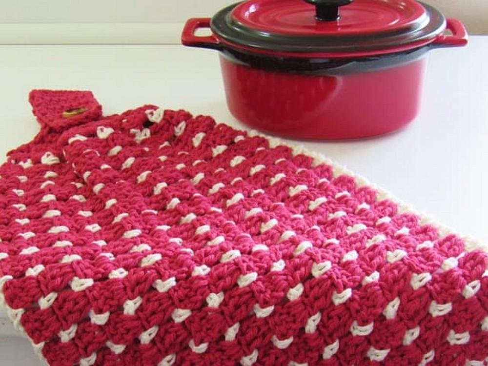 Free Crochet Block Stitch Kitchen Or Tea Towel
