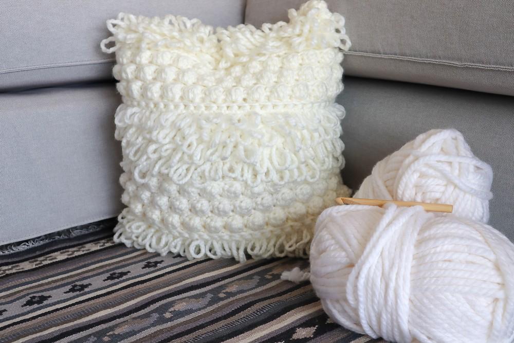 Free Crochet Bobble Boho Textures Pillow Pattern