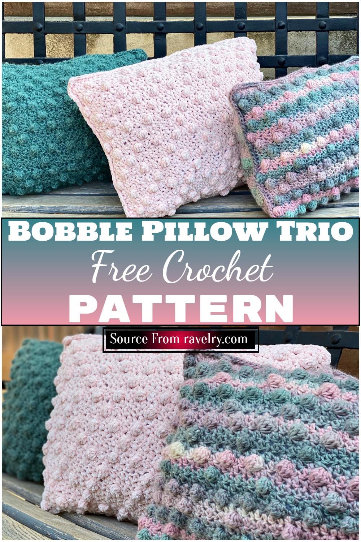 Free Crochet Bobble Pillow Trio Pattern 1