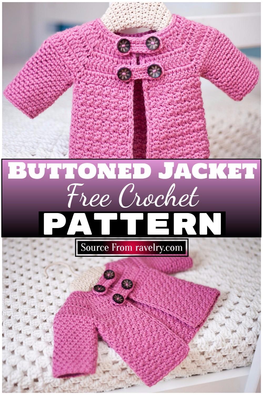 Free Crochet Buttoned Jacket Pattern 1