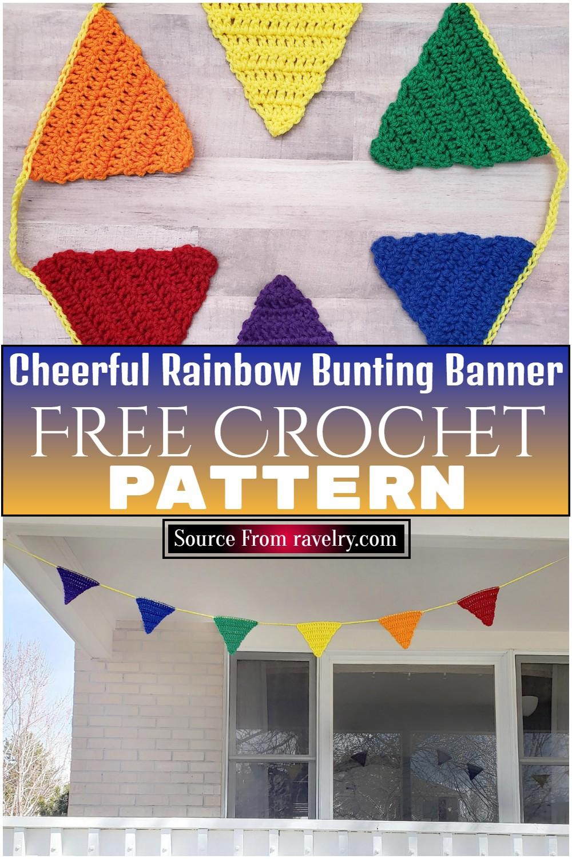 Free Crochet Cheerful Rainbow Bunting Banner Pattern