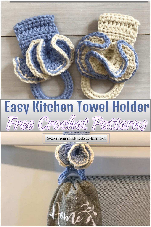 Free Crochet Easy Kitchen Towel Holder Pattern 1