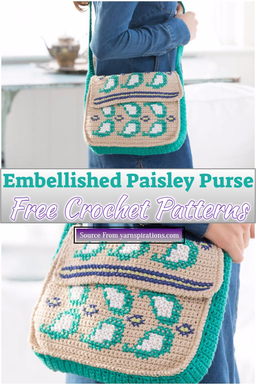 Free Crochet Embellished Paisley Purse