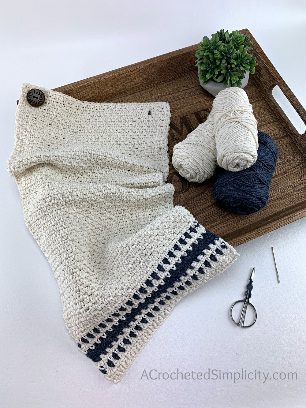 Free Crochet Farmhouse Striped Kitchen Towel