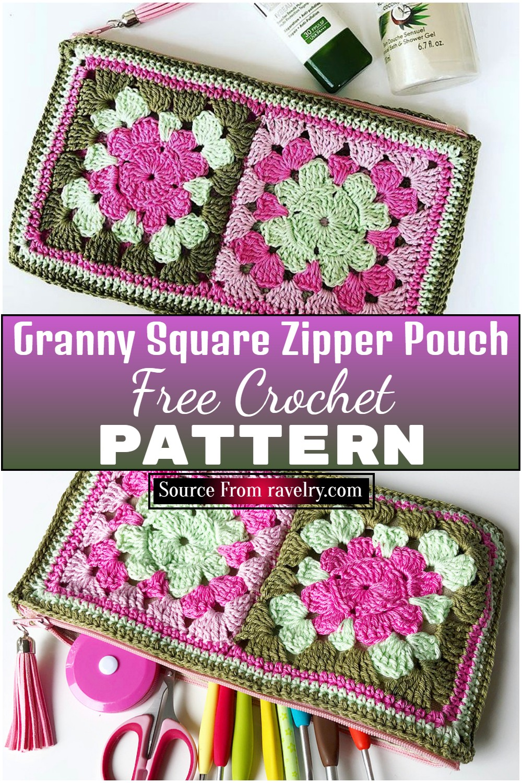 Free Crochet Granny Square Zipper Pouch
