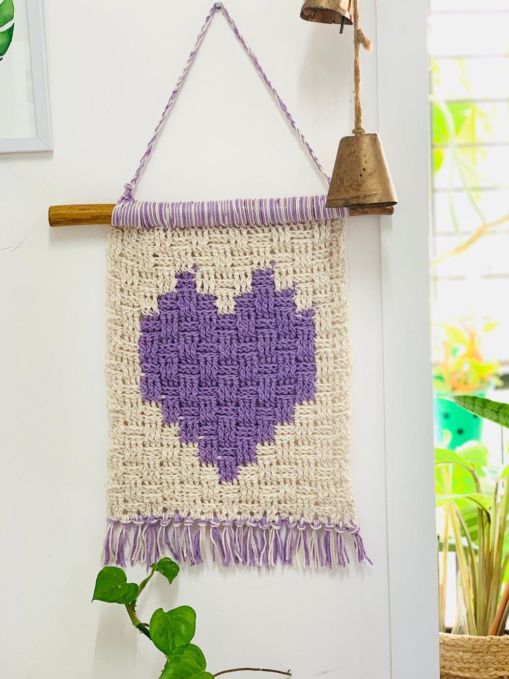 Free Crochet Heart In A Basket Wall Hanging