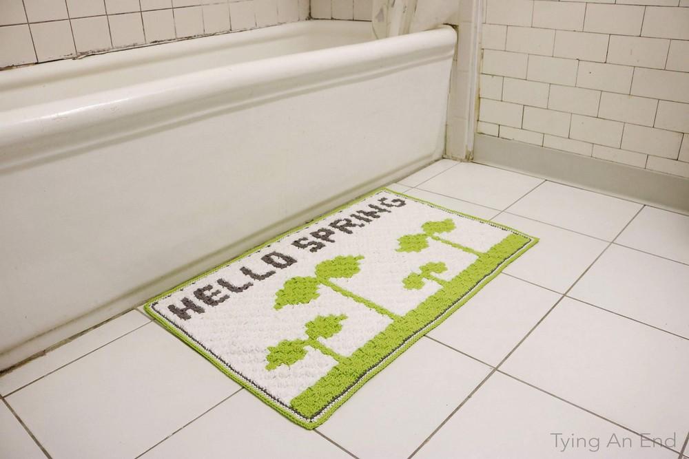 Free Crochet Hello Spring Bath Mat Pattern