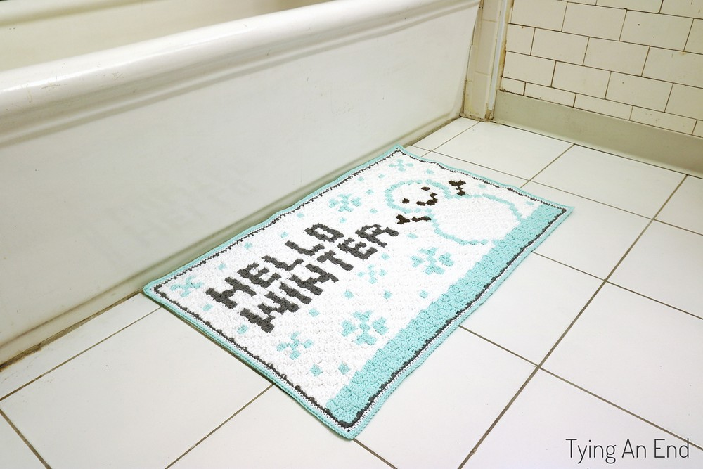 Free Crochet Hello Winter Bath Mat Pattern