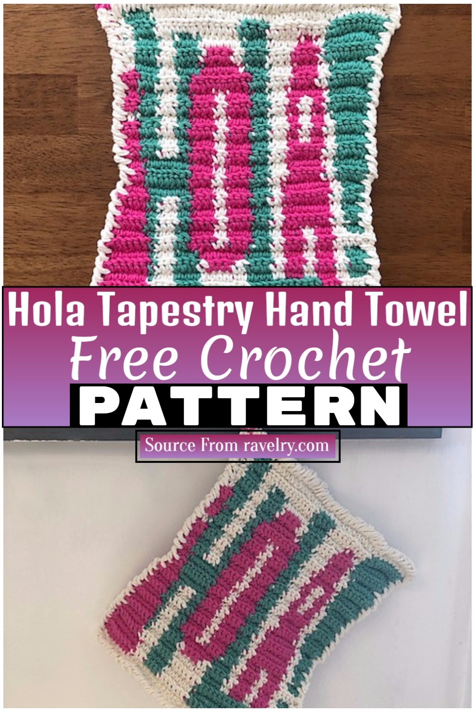 Free Crochet Hola Tapestry Hand Towel 1