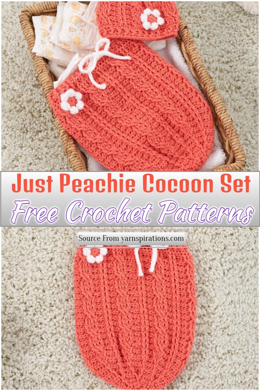 Free Crochet Just Peachie Cocoon Set Pattern