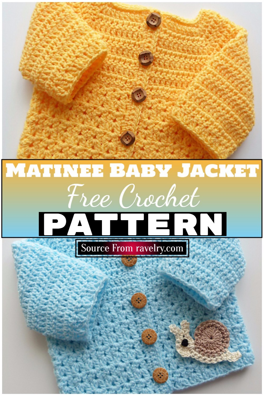 Free Crochet Matinee Baby Jacket Pattern 1