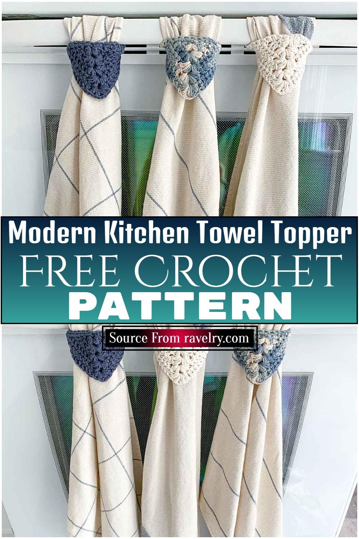 Free Crochet Modern Kitchen Towel Topper Pattern