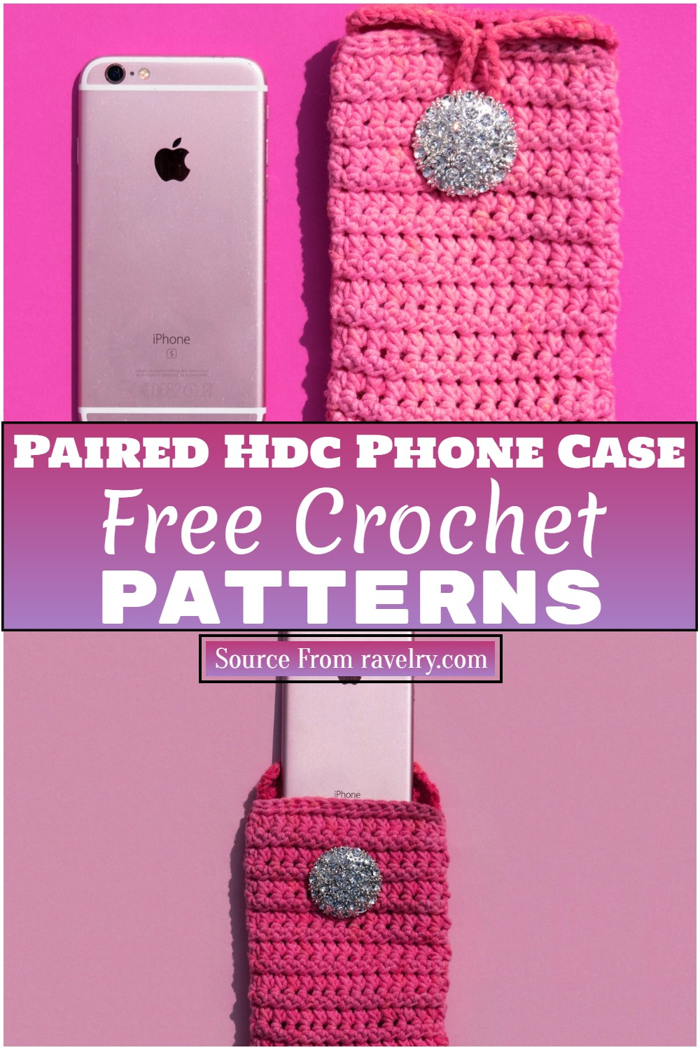 Free Crochet Paired Hdc Phone Case