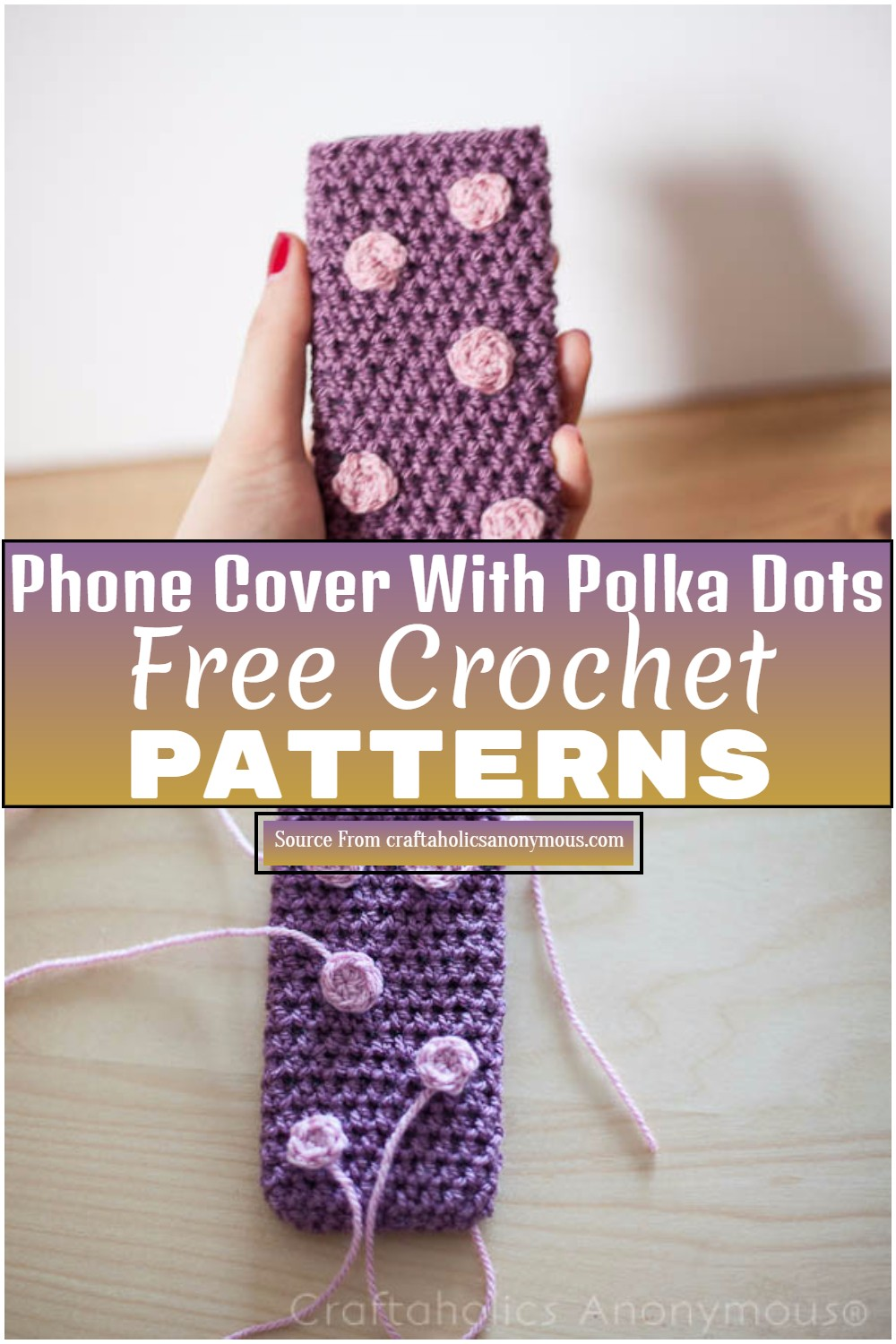 Free Crochet Phone Cover With Polka Dots 1