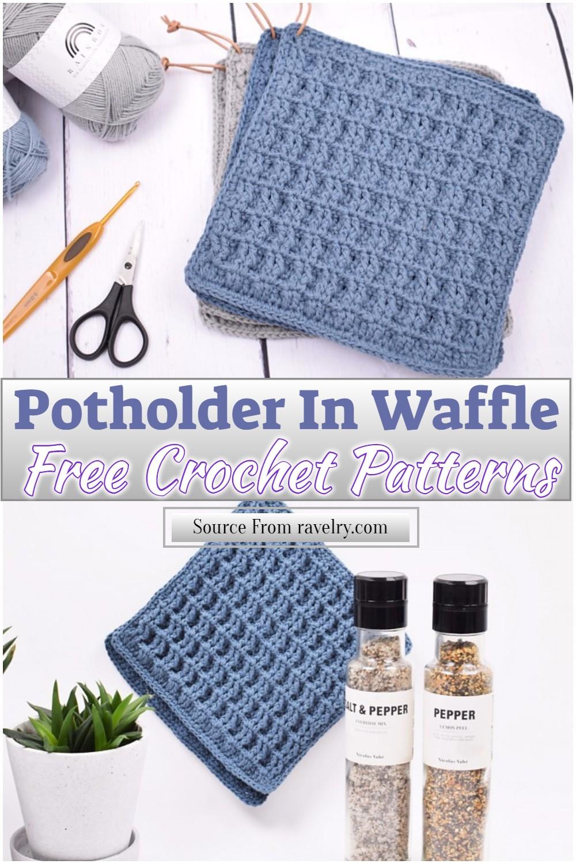 Free Crochet Potholder In Waffle Pattern