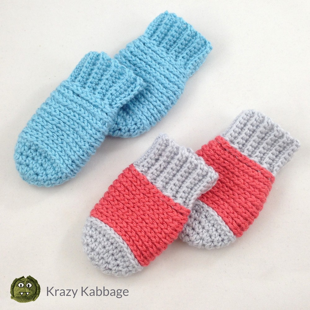 Free Crochet Ribbed Baby Mittens Pattern