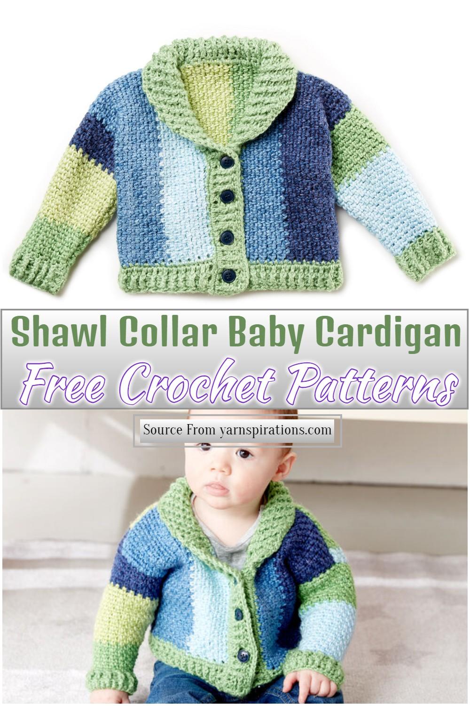 Free Crochet Shawl Collar Baby Cardigan Pattern