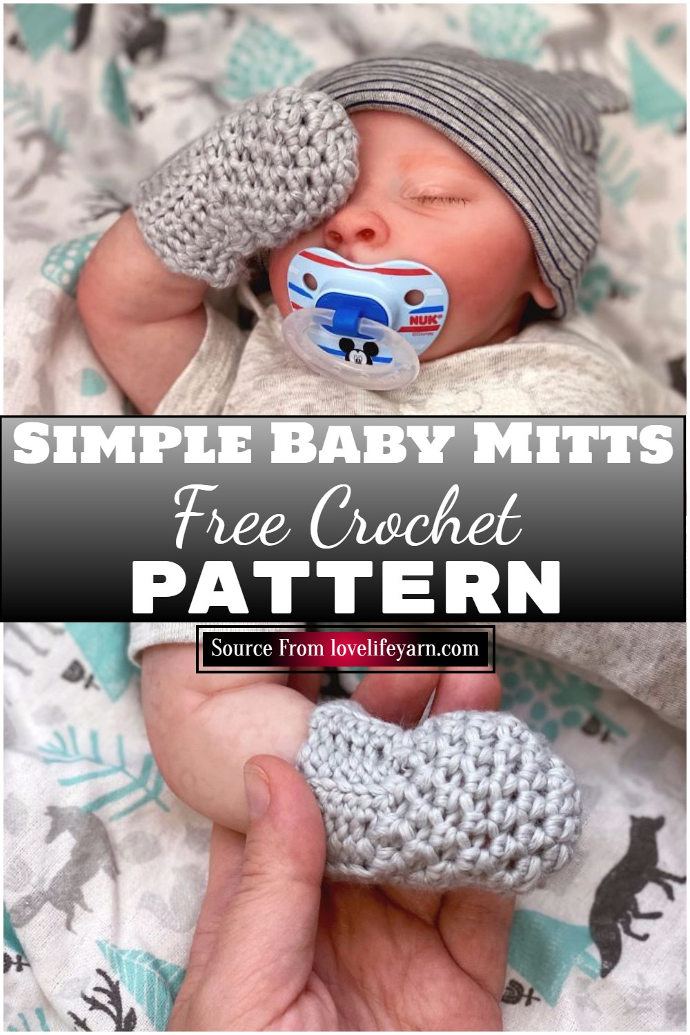 Free Crochet Simple Baby Mitts Pattern 1