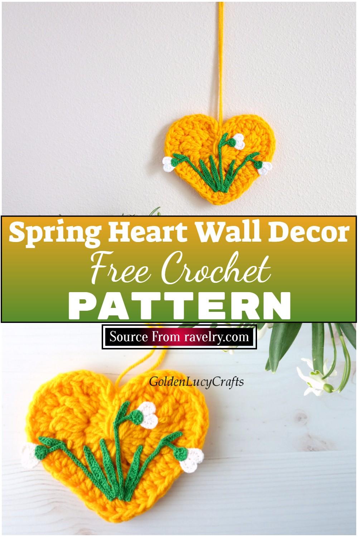 Free Crochet Spring Heart Wall Decor 1