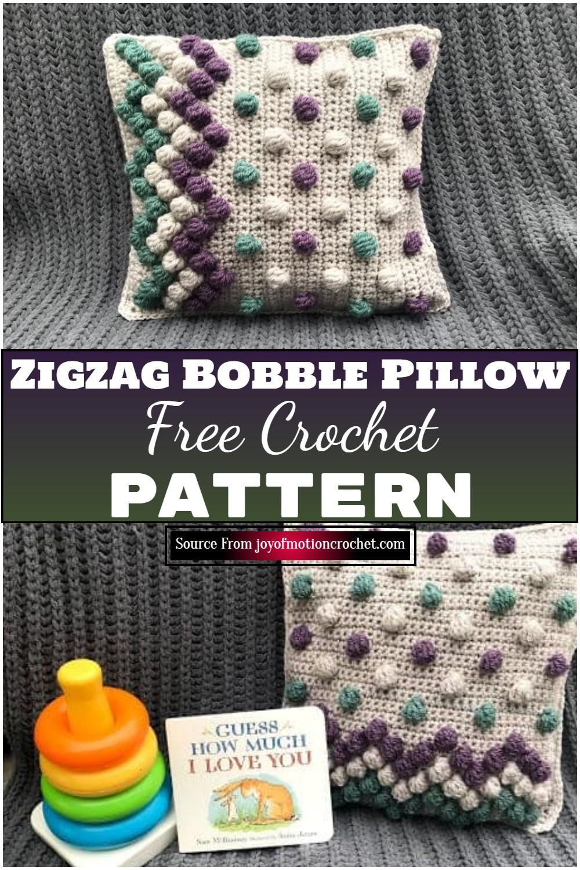 Free Crochet Zigzag Bobble Pillow 2