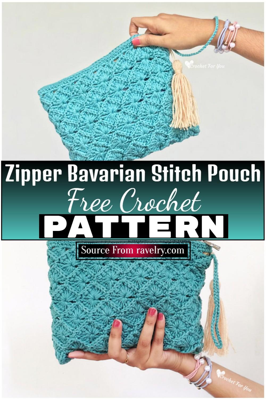 Free Crochet Zipper Bavarian Stitch Pouch 1
