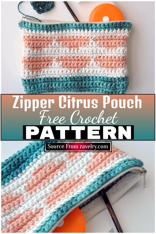 Free Crochet Zipper Citrus Pouch 1