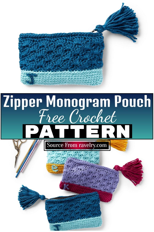 Free Crochet Zipper Monogram Pouch 1