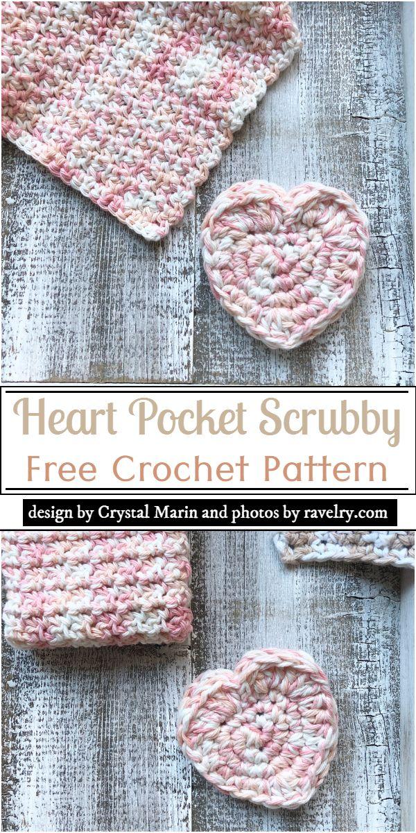 Heart Pocket Scrubby Crochet Pattern