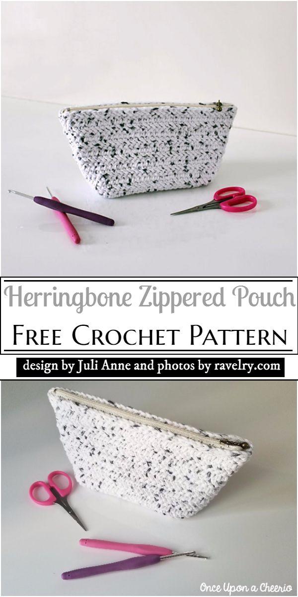 Herringbone Zippered Pouch Crochet Pattern