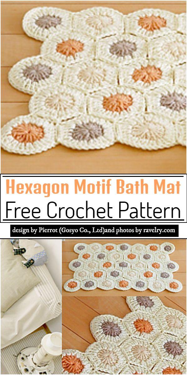 Hexagon Motif Bath Mat Crochet Pattern
