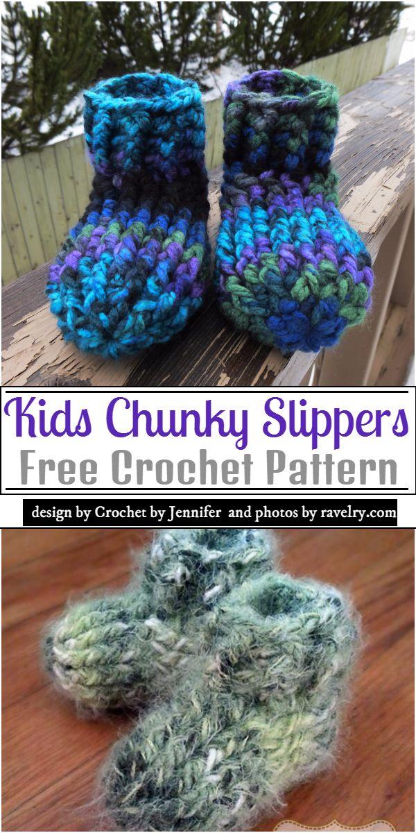 Kids Chunky Slippers Crochet Pattern