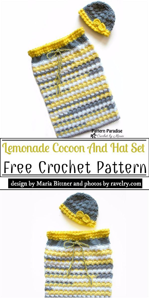 Lemonade Cocoon And Hat Set Crochet Pattern