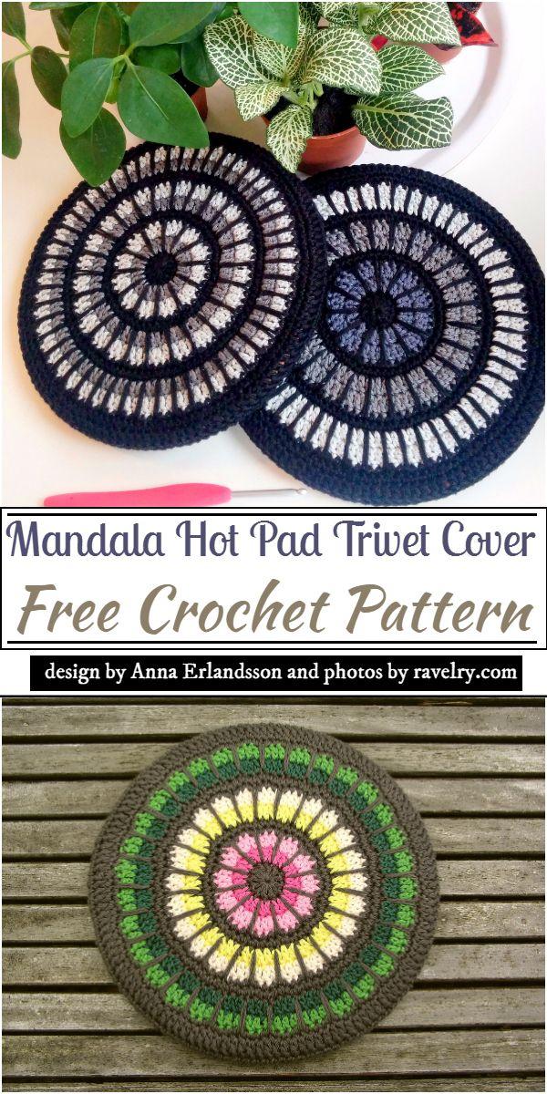 Mandala Hot Pad Trivet Cover Crochet Pattern