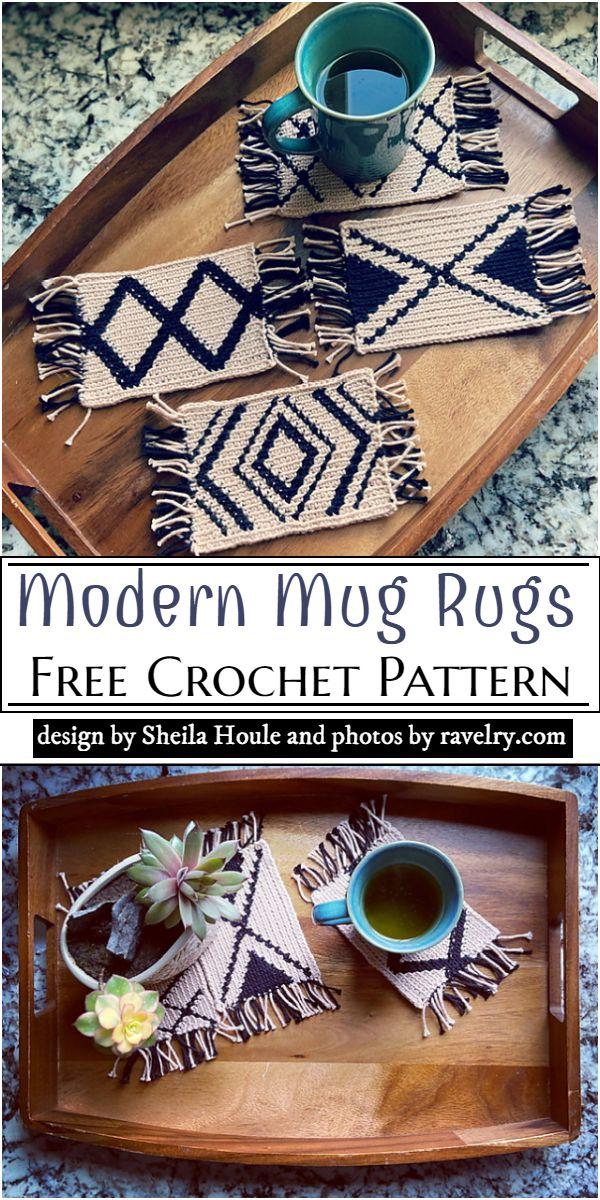 Modern Mug Rugs Crochet Pattern