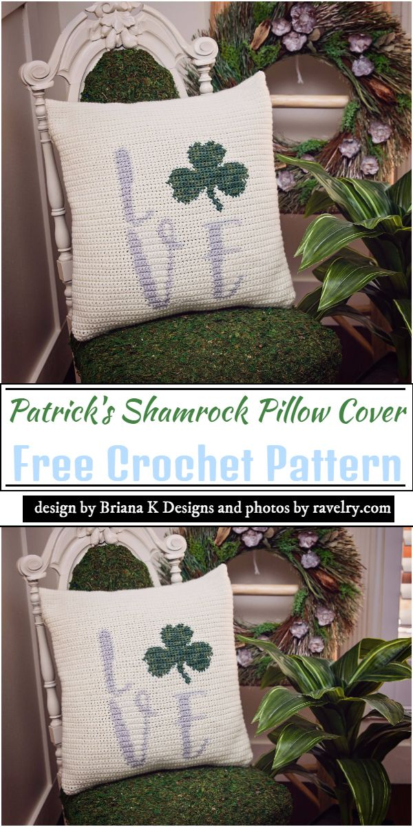 Patrick's Shamrock Pillow Cover Crochet Pattern