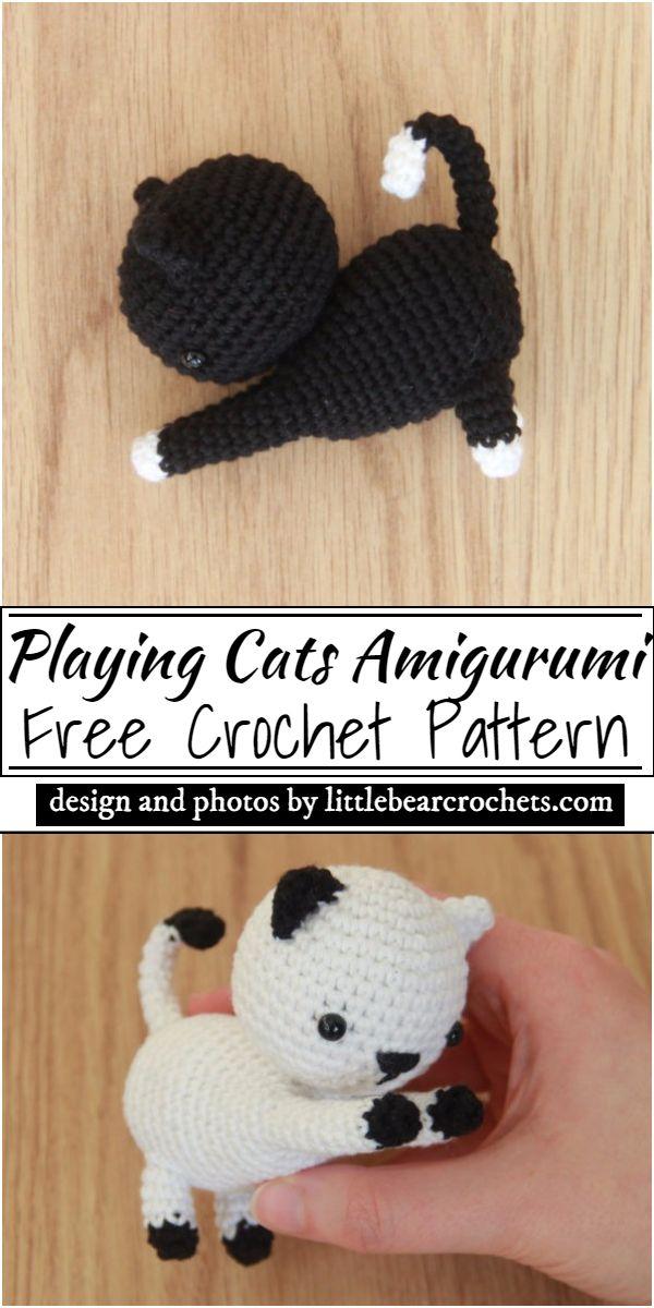 Playing Cats Amigurumi Crochet Pattern