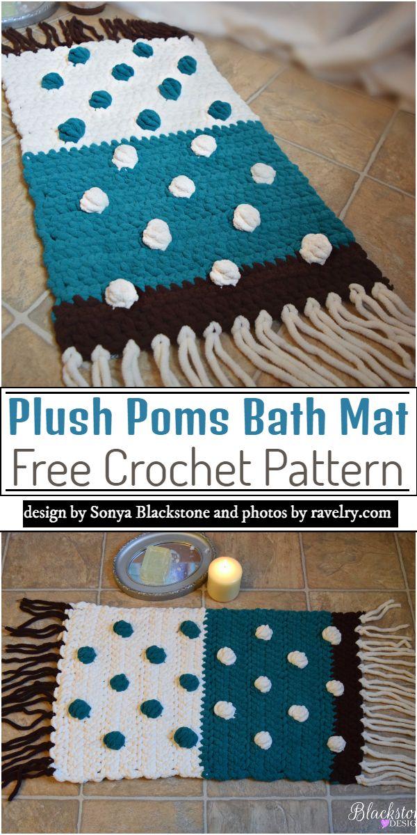 Plush Poms Bath Mat Crochet Pattern