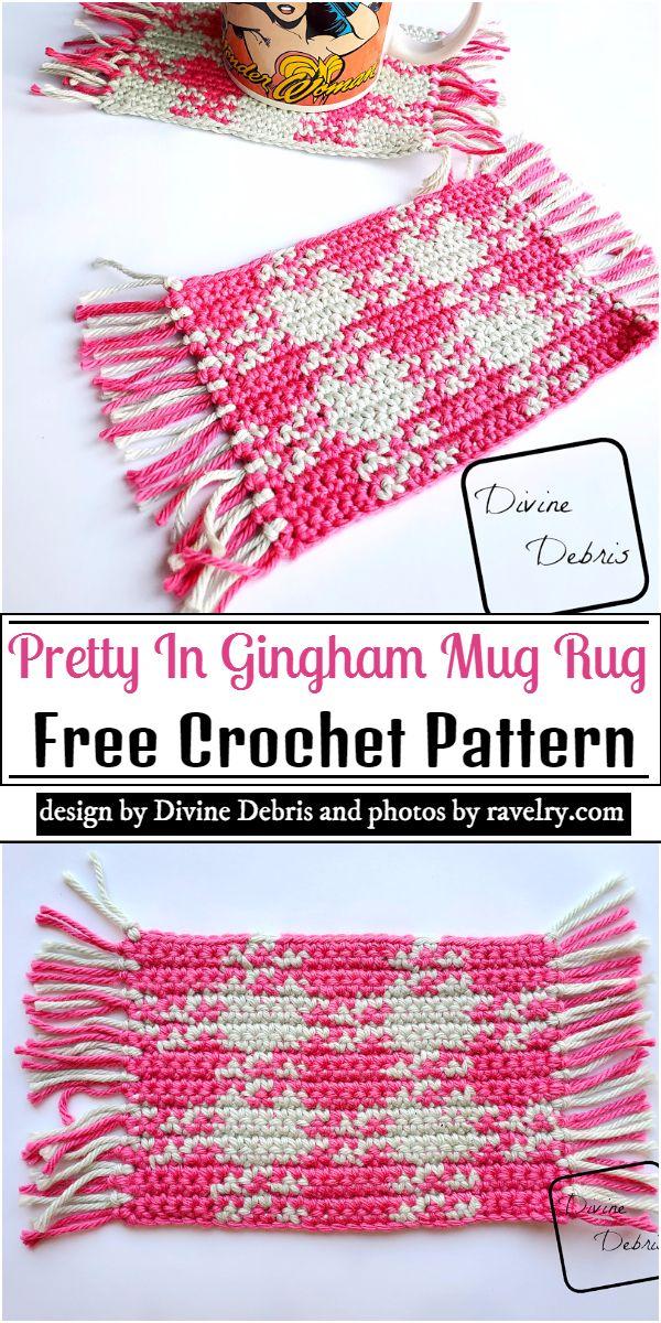 Pretty In Gingham Mug Rug Crochet Pattern