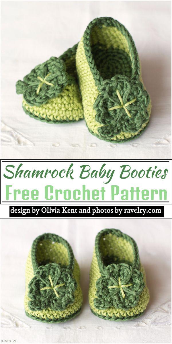 Shamrock Baby Booties Crochet Pattern