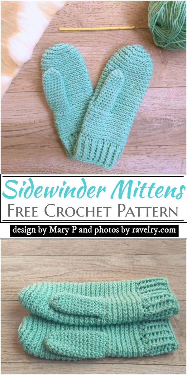 Sidewinder Mittens Crochet Pattern