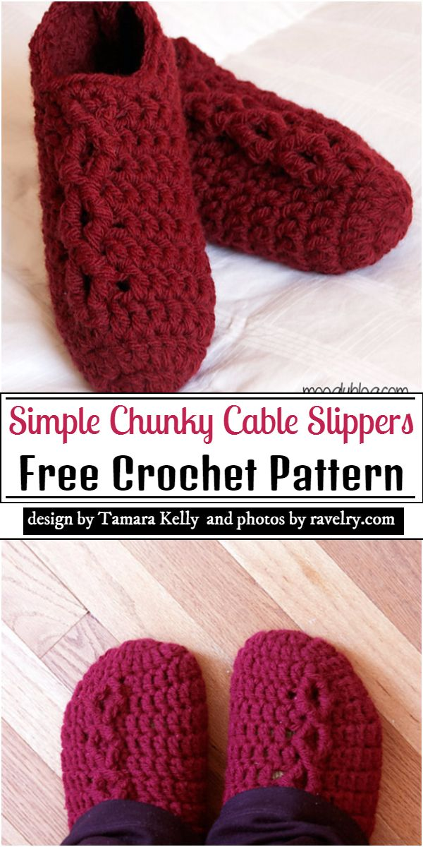 Simple Chunky Cable Slippers Crochet Pattern