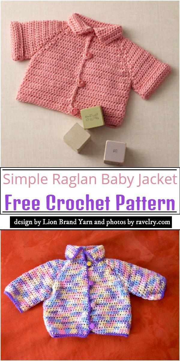 Simple Raglan Baby Jacket Crochet Pattern